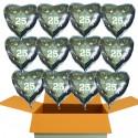 12 Silberne Herzluftballons aus Folie zur Silbernen Hochzeit, inklusive Helium-Ballongas
