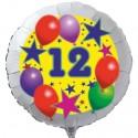 Luftballon aus Folie mit Helium, 12. Geburtstag, Sterne und Luftballons