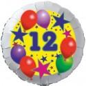 Luftballon aus Folie, 12. Geburtstag, Luftballons und Sterne Zahl 12, ohne Helium