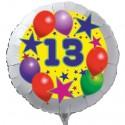 Luftballon aus Folie mit Helium, 13. Geburtstag, Sterne und Luftballons