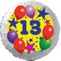Luftballon aus Folie, 13. Geburtstag, Luftballons und Sterne Zahl 13, ohne Helium
