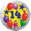 Luftballon aus Folie, 14. Geburtstag, Luftballons und Sterne Zahl 14, ohne Helium
