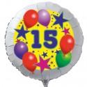Luftballon aus Folie mit Helium, 15. Geburtstag, Sterne und Luftballons
