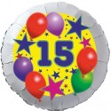 Luftballon aus Folie, 15. Geburtstag, Luftballons und Sterne Zahl 15, ohne Helium