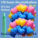 Maxi-Set 1BB, 150 bunte Herzluftballons 30-33 cm mit Helium (Farbauswahl)