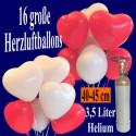 Mini-Set Ballons Helium, 16 Herzluftballons 40 cm mit Ballongasflasche, Weiß und Rot