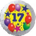 Luftballon aus Folie, 17. Geburtstag, Luftballons und Sterne Zahl 17, ohne Helium