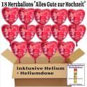 18 rote Herzluftballons zur Hochzeit, Hochzeitsringe, Alles Gute zur Hochzeit, inklusive Helium. + Heliumdose