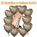 Goldene Hochzeit, 18 Hochzeits-Luftballons mit Helium im Karton