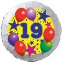 Luftballon aus Folie, 19. Geburtstag, Luftballons und Sterne Zahl 19, ohne Helium