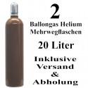 2 Ballongas Helium 20 Liter Flaschen