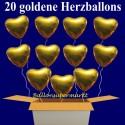 Golden Hearts Folienballons 20 Stück Herzluftballons mit Helium