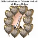 20 Luftballons aus Folie, Goldene Hochzeit, mit dem Helium-Einweg-Behälter