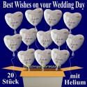 Best Wishes Folienballons 20 Stück mit Helium zur Hochzeit