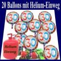 Helium- Einwegbehälter mit 20 Geburtstag 30 Glückwünschen