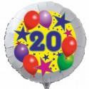 Luftballon aus Folie mit Helium, 20. Geburtstag, Sterne und Luftballons