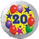 Luftballon aus Folie, 20. Geburtstag, Luftballons und Sterne Zahl 20, ohne Helium
