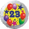 Luftballon aus Folie, 23. Geburtstag, Luftballons und Sterne Zahl 23, ohne Helium