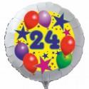 Luftballon aus Folie mit Helium, 24. Geburtstag, Sterne und Luftballons