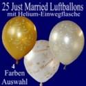 Just Married Luftballons, 25 Hochzeitsballons mit Helium-Einwegflasche