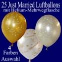 Just Married Luftballons, 25 Hochzeitsballons mit Heliumflasche