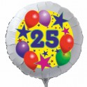 Luftballon aus Folie mit Helium, 25. Geburtstag, Sterne und Luftballons