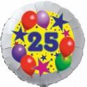 Luftballon aus Folie, 25. Geburtstag, Luftballons und Sterne Zahl 25, ohne Helium