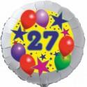 Luftballon aus Folie, 27. Geburtstag, Luftballons und Sterne Zahl 27, ohne Helium