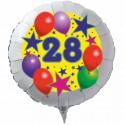 Luftballon aus Folie mit Helium, 28. Geburtstag, Sterne und Luftballons