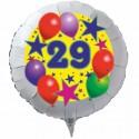 Luftballon aus Folie mit Helium, 29. Geburtstag, Sterne und Luftballons
