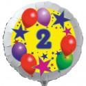 Luftballon aus Folie mit Helium, 2. Geburtstag, Sterne und Luftballons