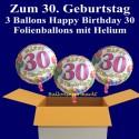 """Geburtstag """"Balloons 30"""", 3 Ballons aus Folie mit Helium zum 30. Geburtstag"""