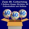 """Geburtstag """"Balloons 40"""", 3 Ballons aus Folie mit Helium zum 40. Geburtstag"""
