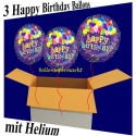 Happy Birthday Geburtstagsballons, 3 Luftballons aus Folie, Balloon Bunch, mit Helium