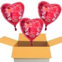 3 rote Herzluftballons zur Hochzeit, Hochzeitsringe, Alles Gute zur Hochzeit, inklusive Helium
