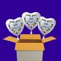 """3 weiße Herzluftballons, """"60 Jahre"""" Diamantene Hochzeit, inklusive Helium"""