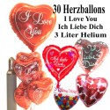 Midi-Set 6, 30 Herzballons aus Folie, I Love You, 3 Liter Helium