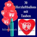 Midi-Set 1, 30 rote Herzluftballons mit Friedenstauben, Helium / inkl. Rückporto