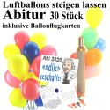 Midi-Ballons-Helium-Set, 30 bunte Luftballons mit Heliumflasche und Ballonflugkarten zum Abitur