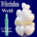 Midi-Set 1B, 30 weiße Herzluftballons mit Helium / inkl. Rückporto