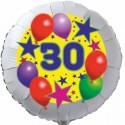 Luftballon aus Folie, 30. Geburtstag, Luftballons und Sterne Zahl 30, ohne Helium