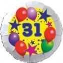 Luftballon aus Folie, 31. Geburtstag, Luftballons und Sterne Zahl 31, ohne Helium
