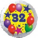Luftballon aus Folie, 32. Geburtstag, Luftballons und Sterne Zahl 32, ohne Helium