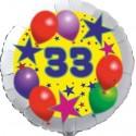 Luftballon aus Folie, 33. Geburtstag, Luftballons und Sterne Zahl 33, ohne Helium