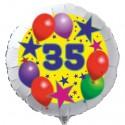 Luftballon aus Folie mit Helium, 35. Geburtstag, Sterne und Luftballons