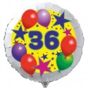 Luftballon aus Folie mit Helium, 36. Geburtstag, Sterne und Luftballons