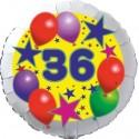 Luftballon aus Folie, 36. Geburtstag, Luftballons und Sterne Zahl 36, ohne Helium