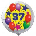 Luftballon aus Folie mit Helium, 37. Geburtstag, Sterne und Luftballons