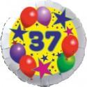 Luftballon aus Folie, 37. Geburtstag, Luftballons und Sterne Zahl 37, ohne Helium