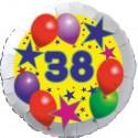 Luftballon aus Folie, 38. Geburtstag, Luftballons und Sterne Zahl 38, ohne Helium